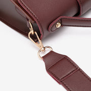 Top handle strapped flap PU leather crossbody bag