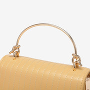 Metallic knot handle striped flap crossbody bag