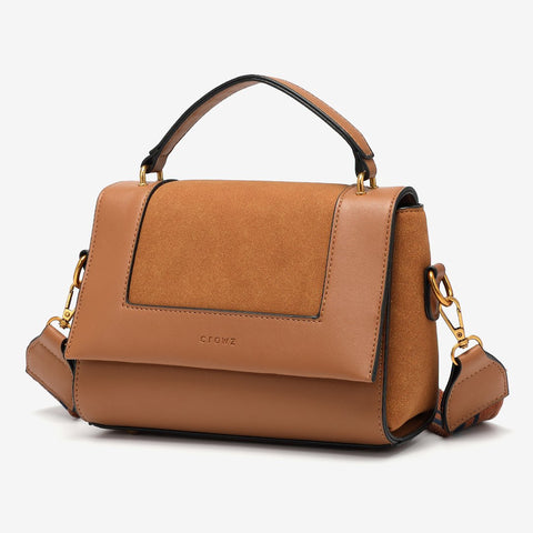 Suede panel flap PU leather crossbody bag
