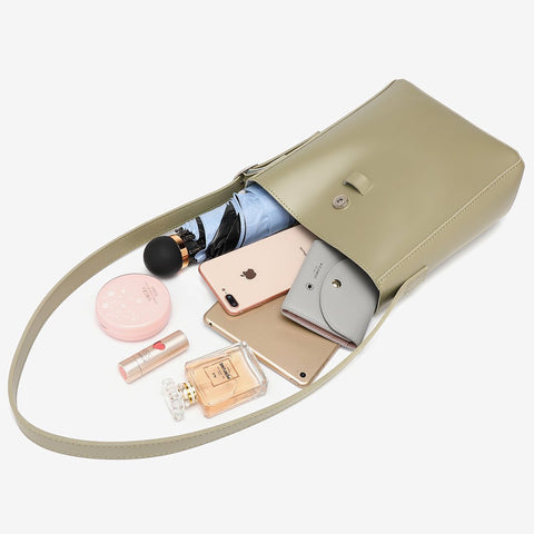 Strap flap PU leather bucket bag set