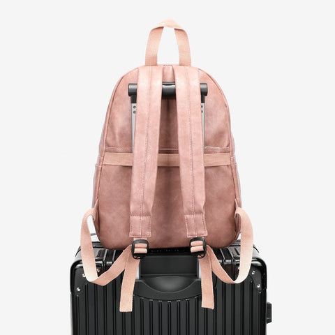 Buckled pocket marble-effect PU leather backpack