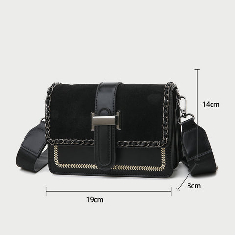 Chain bordered suede-effect flap topstitch PU leather bag