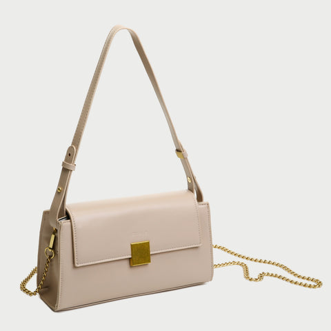Square metal detail flap style chain strap PU Leather bag