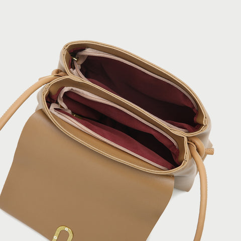 Oval hoop metallic closure dual compartment PU leather bag