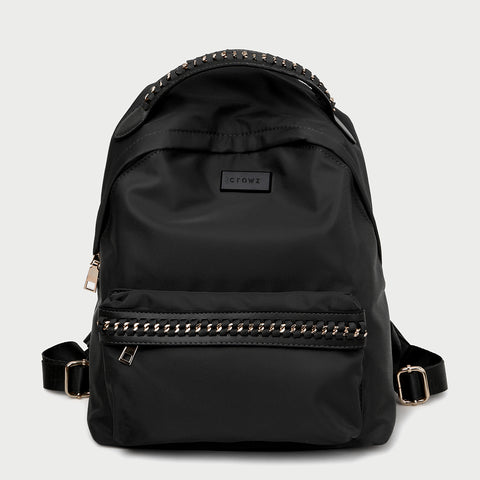 Woven chain strap embellished nylon backpack