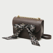 Silky scarf bow embellished flap style PU leather crossbody bag