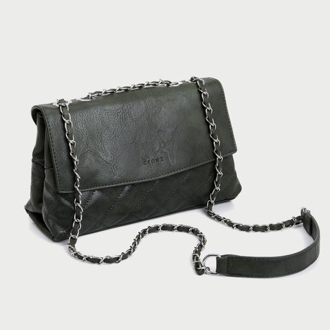 Flapover two-compartment quilted PU leather crossbody bag