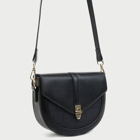 Distinct angular flap PU leather saddle bag