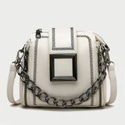 Frame embellished chervon topstitch zip side chain handle PU leather crossbody bag