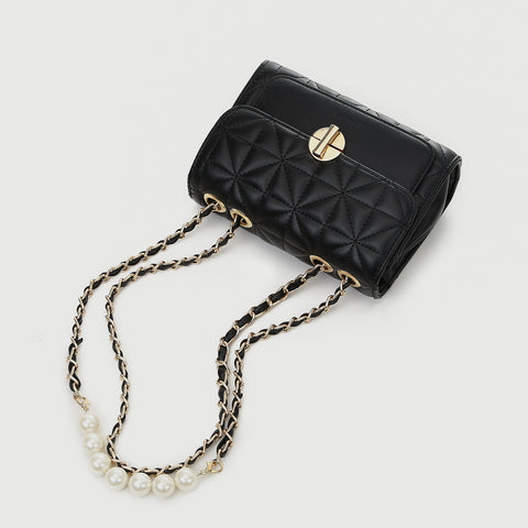 Faux pearl embellished strap turn-lock flap quilted  PU leather crossbody bag