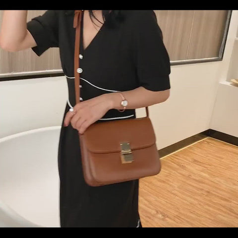 Metal clasp flap front PU leather crossbody bag