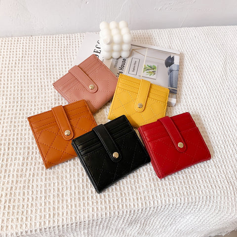 Snap strap quilted PU leather card holder