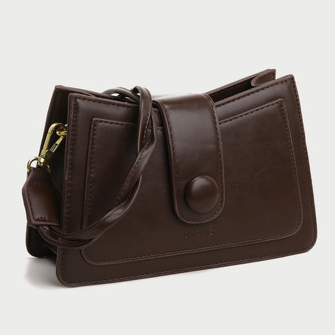Twist handle button strap PU leather crossbody bag