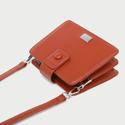 Button strap dual compartment PU leather crossbody bag