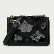 Patterned sequin PU leather crossbody bag