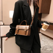 Classic buckle strap flapover PU leather crossbody bag