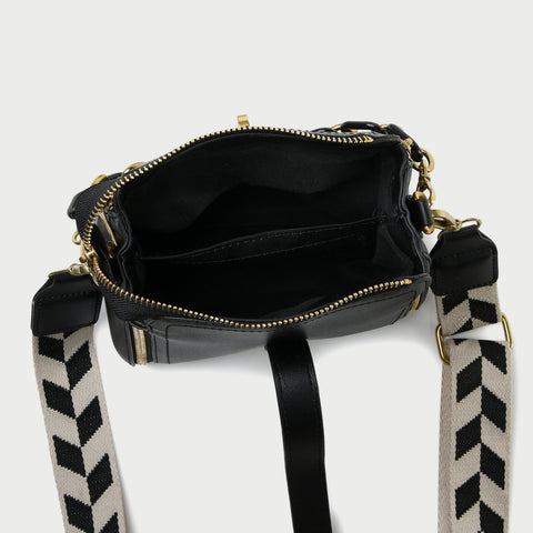 Chain handle patterned strap two-compartment PU leather crossbody bag