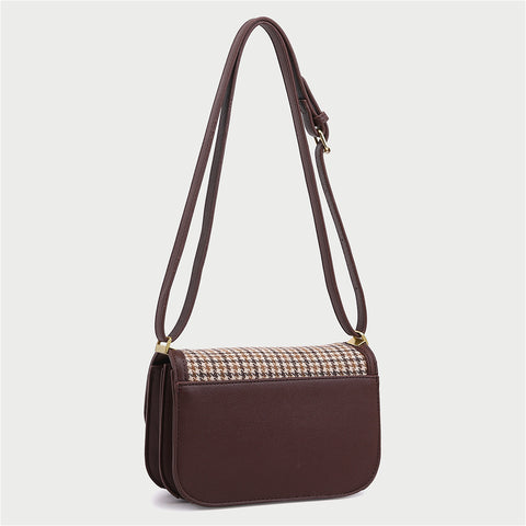 Metal closure flapover style PU leather border houndstooth plaid crossbody bag