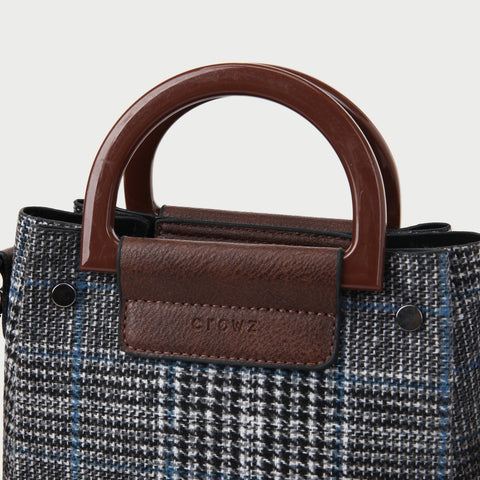 D-shape handle glen plaid 2-in-1 PU leather canvas crossbody bag