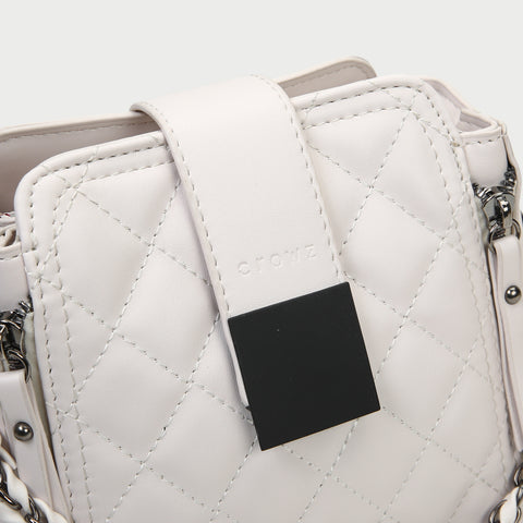 Woven chain strap zipped detail quilted PU leather crossbody bag