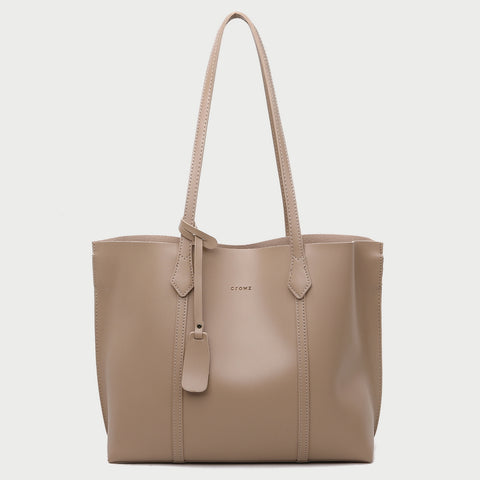 Modern minimal dual compartment zip pocket roomy PU leather tote