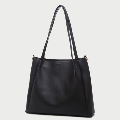 Pleated detail PU leather tote bag