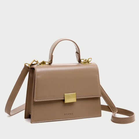 Square metal detail flapover PU leather crossbody bag