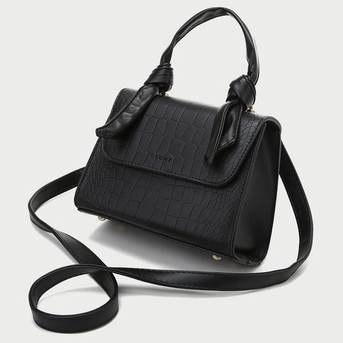 Knotted top handle croc-embossed PU leather crossbody bag