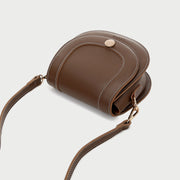 Contrast stud topstitched PU leather saddle bag