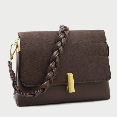 Faux suede croc-embossed flap braided handle crossbody bag