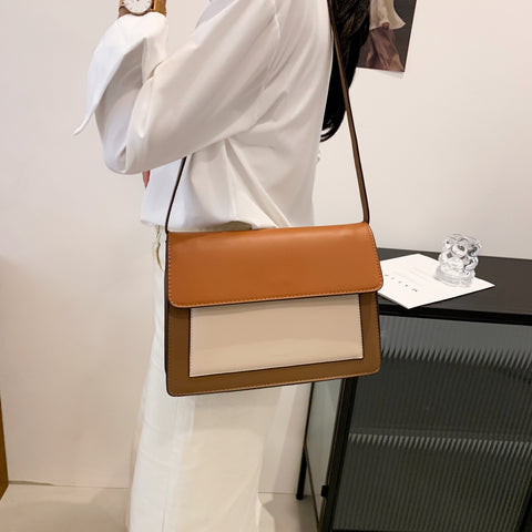 Colourblock classic flap-style PU leather crossbody bag