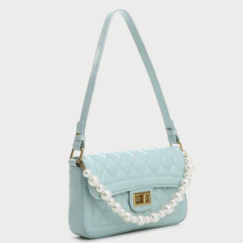 Faux pearl handle turn-lock quilted PU leather shoulder bag