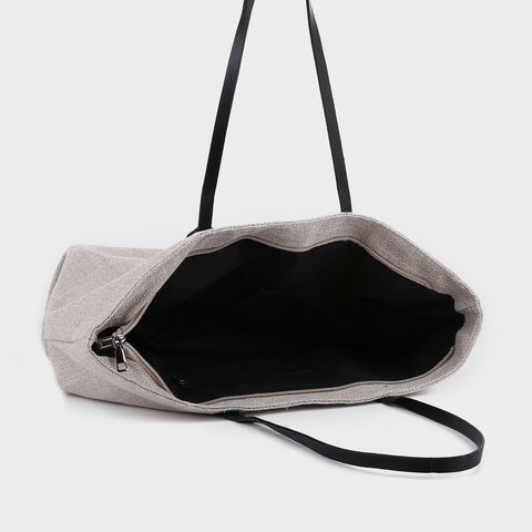 PU leather handle classic canvas tote