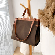 PU leather trim optional-handle roomy canvas tote bag