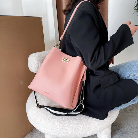Modern striped strap roomy PU leather bucket bag