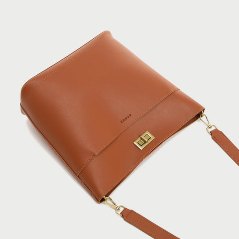 Minimalistic front pocket turn-lock PU leather bucket bag