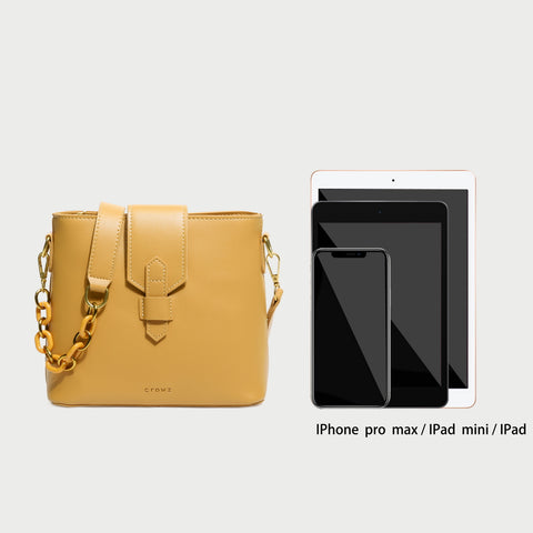Contrast chained strap retro flap style PU leather crossbody bag
