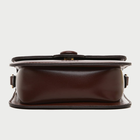 Button detail streamlined flapover PU leather crossbody bag