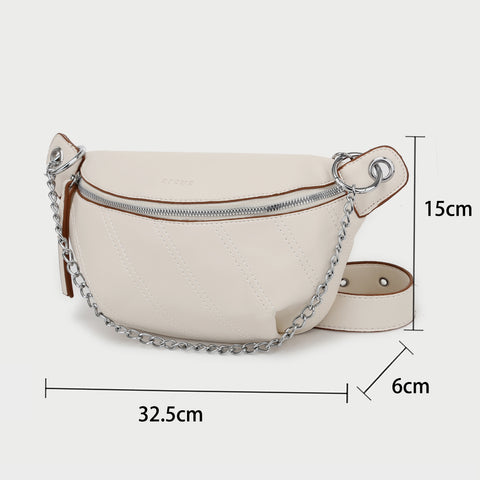 Slant topstitching bumbag style PU leather crossbody bag