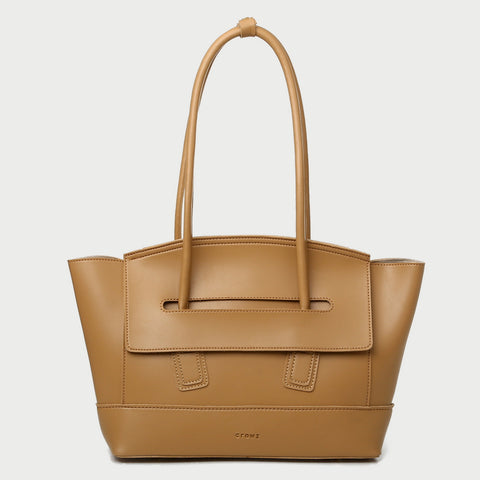 Handle through flap roomy PU leather tote bag