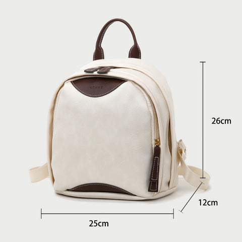 Colourblock two zip compartment small PU leather backpack