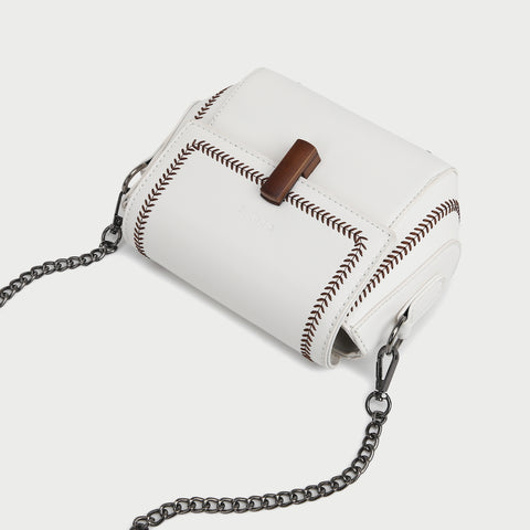 Topstitch detail flap style PU leather crossbody bag