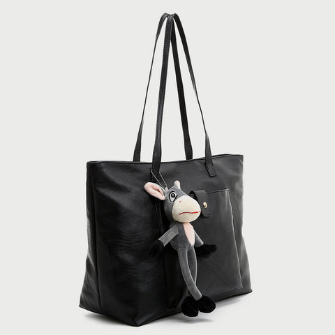 Donkey charm front pocket PU leather tote