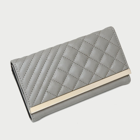 Metal bar contrast quilted PU leather long purse