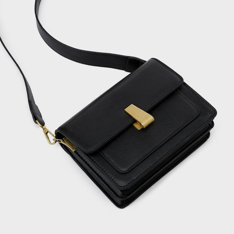 Metal clasp flapover dual compartment PU leather crossbody bag