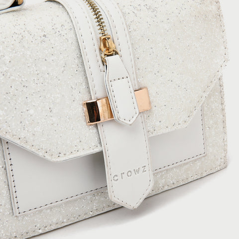 Zip strap glitter PU leather crossbody bag