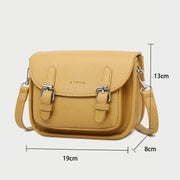 Double buckle strap flapover front pocket PU leather crossbody bag