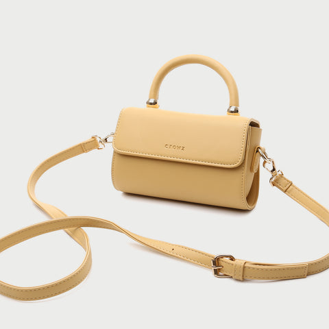 Minimalist classic flap sleek top handle PU leather crossbody bag