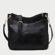 Quilted front pocket zipped roomy PU leather crossbody bag
