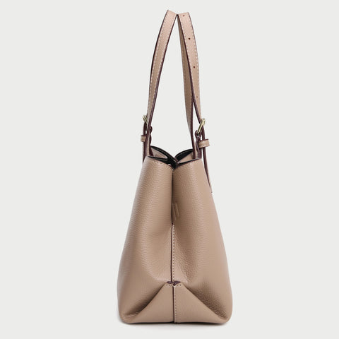 Minimal buckled handle dual compartment grained PU leather tote